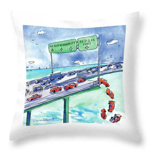 Red Sox Throw Pillow featuring the drawing Red Cars Drop Off A Bridge Under A Sign That Says by Michael Crawford