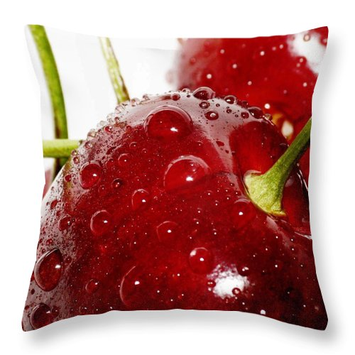 Fruit Throw Pillow featuring the photograph Red Cherry by Aza Johnson