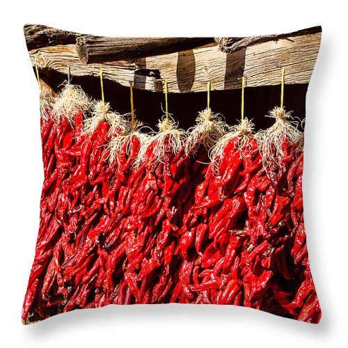 Chili Throw Pillow featuring the photograph Red Chili Ristras by Ben Graham