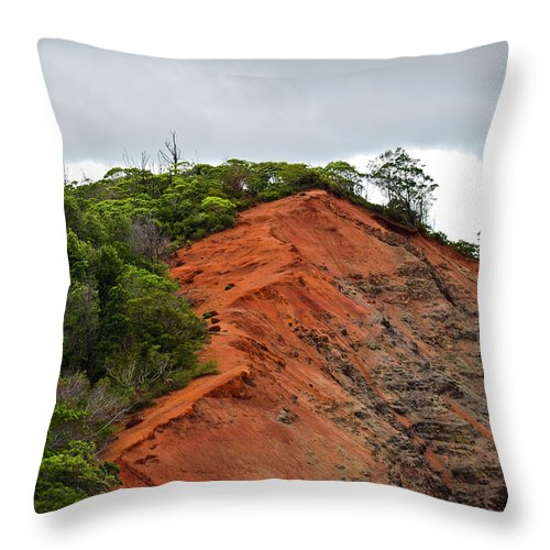 Christi Kraft Throw Pillow featuring the photograph Red Cliff At Waimea by Christi Kraft
