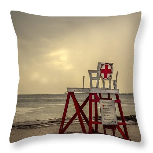 Gulf Of Mexico Sunset Throw Pillow featuring the photograph Red Cross Lifeguard by Marvin Spates