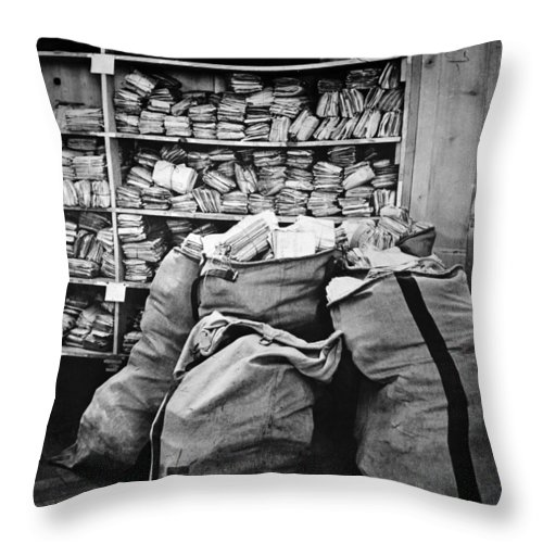 1940 Throw Pillow featuring the photograph Red Cross: Mail, 1940 by Granger