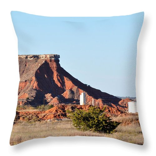 Red Dirt Throw Pillow featuring the photograph Red Dirt And Oil And Gas by Anjanette Douglas