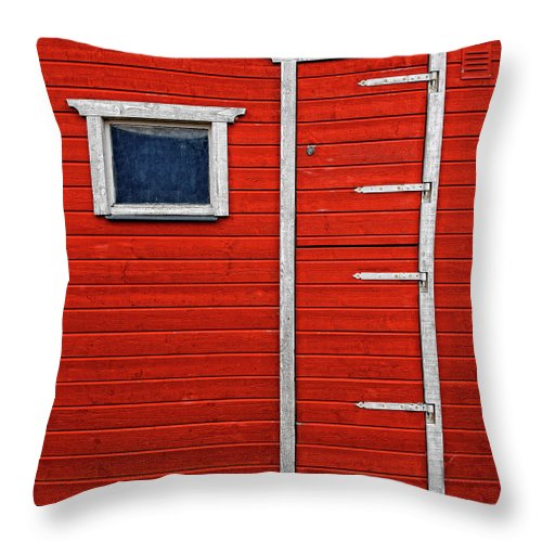 Built Structure Throw Pillow featuring the photograph Red Door And Window With White Frames - by Makasu