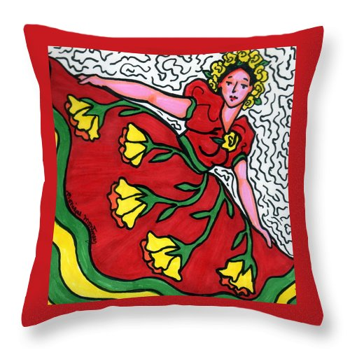 Dancer Throw Pillow featuring the painting Red Dress With Yellow Roses by Monique Montney