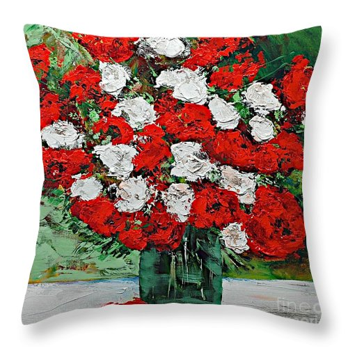 Landscape Throw Pillow featuring the painting Red Explosion by Allan P Friedlander