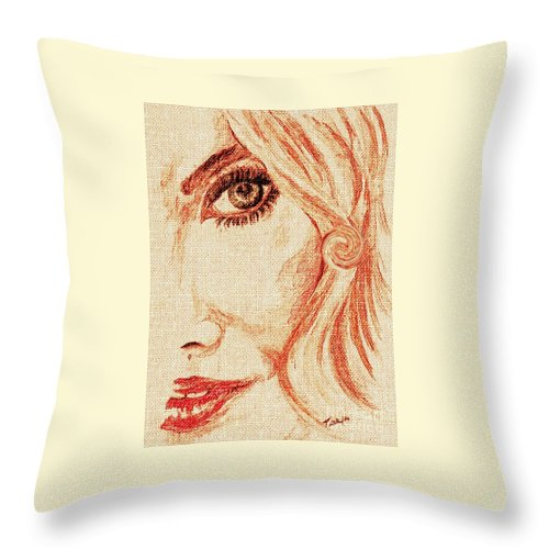 #teresa Throw Pillow featuring the painting Red Eyes. by Teresa White