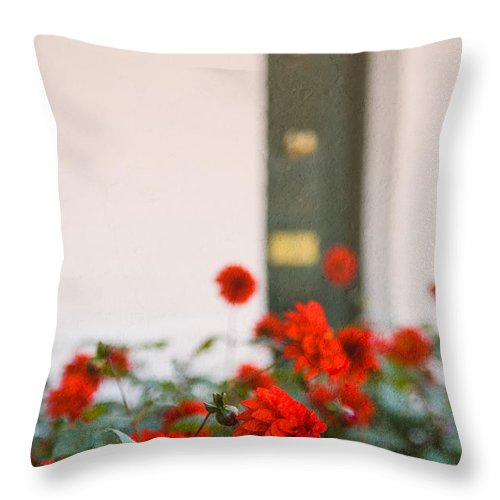 Bud Throw Pillow featuring the photograph Red Flowers by Mark Llewellyn