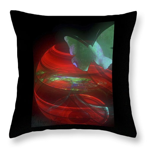 Red Fractal Bowl With Butterfly Throw Pillow featuring the digital art Red Fractal Bowl With Butterfly by Femina Photo Art By Maggie