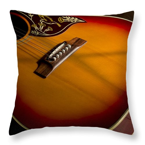 Music Throw Pillow featuring the photograph Red Guitar In Shadow by Mark McKinney