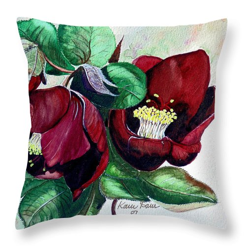 Red Helleborous Painting Flower Painting  Botanical Painting Watercolor Painting Original Painting Floral Painting Flower Painting Red Painting  Greeting Painting Throw Pillow featuring the painting Red Helleborous by Karin Dawn Kelshall- Best