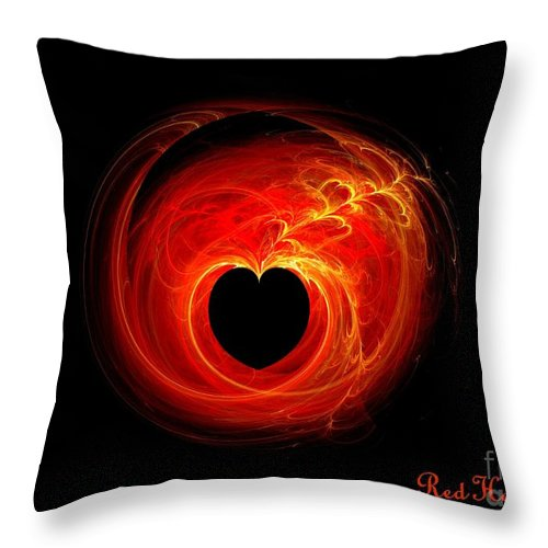 Red Throw Pillow featuring the digital art Red Hot Love by Renee Trenholm