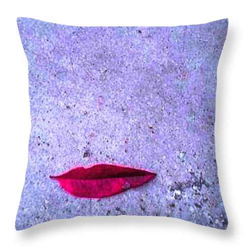 Leaf Throw Pillow featuring the mixed media Red Leaf On D Ground by Piety Dsilva