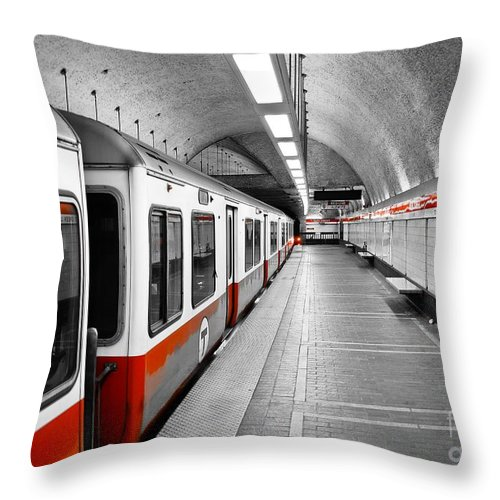 Red Throw Pillow featuring the photograph Red Line by Charles Dobbs