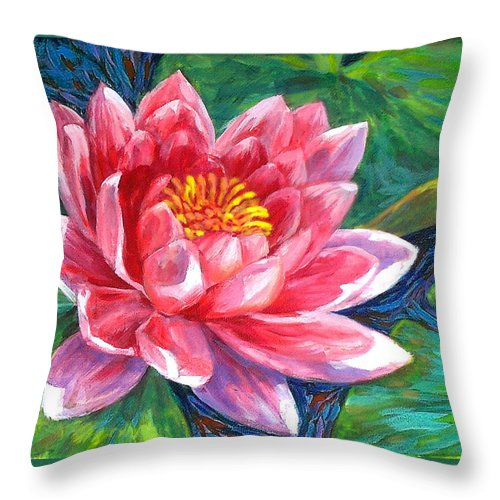 Flower Throw Pillow featuring the painting Red Lotus Flower by Mon Fagtanac