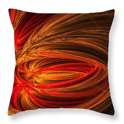 Fractal Throw Pillow featuring the photograph Red Luminescence-fractal Art by Lourry Legarde