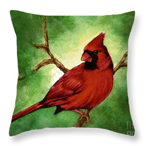 Wildlife Throw Pillow featuring the painting Red Male Cardinal by Nan Wright