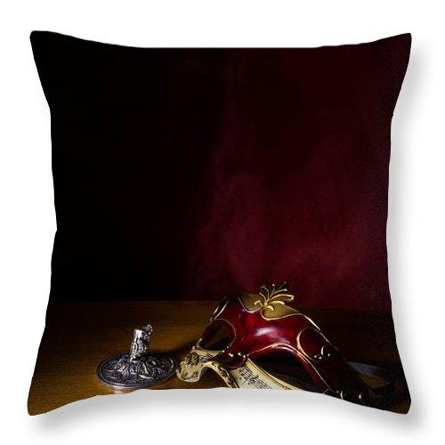 Venetian Mask Throw Pillow featuring the photograph Red Masque by Ann Garrett