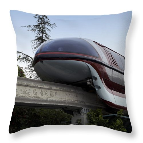 Rail Throw Pillow featuring the photograph Red Monorail Disneyland 02 by Thomas Woolworth