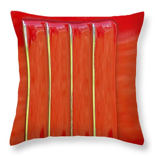 American Muscle Car Throw Pillow featuring the photograph red Nova badge by Mark Spearman