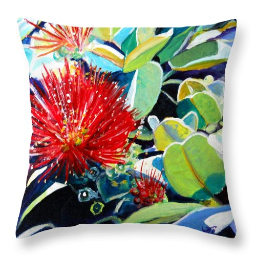 Hawaiian Flower Throw Pillow featuring the painting Red Ohia Lehua Flower by Marionette Taboniar