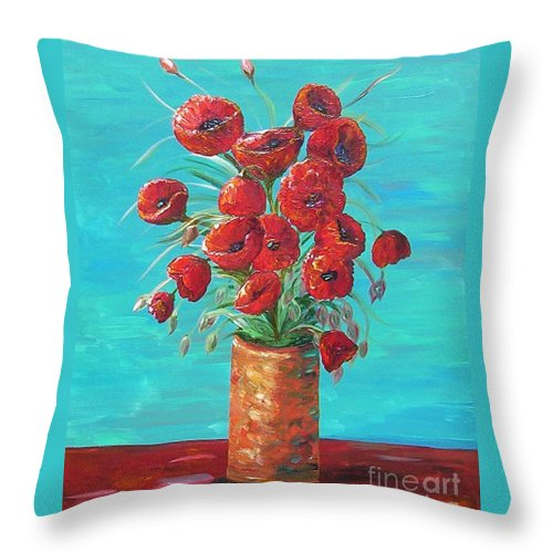 Poppy Throw Pillow featuring the painting Red On My Table by Eloise Schneider Mote