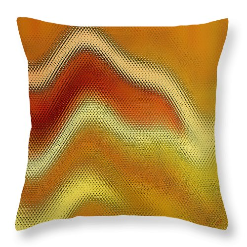 Abstract Throw Pillow featuring the digital art Red Orange And Yellow Glass Waves by Ben and Raisa Gertsberg