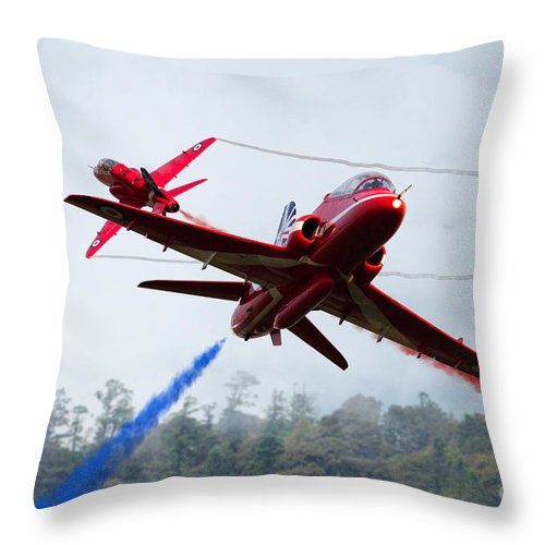 The Red Arrows Throw Pillow featuring the digital art Red Pair by J Biggadike