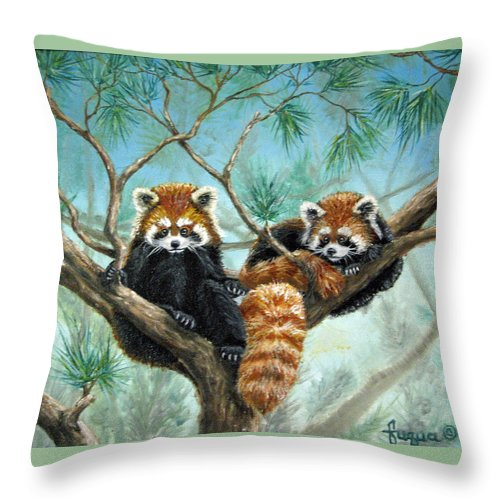 The Other Panda Throw Pillow featuring the painting Red Pandas by Beverly Fuqua