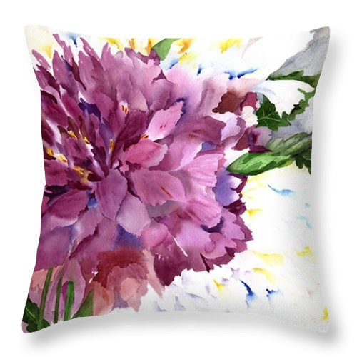 Peony Throw Pillow featuring the painting Red Peony by Neela Pushparaj