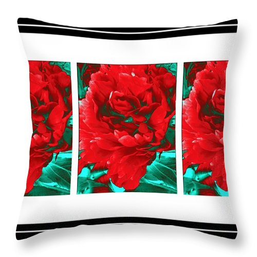 Red Peony Triptych Throw Pillow featuring the digital art Red Peony Triptych by Barbara Griffin
