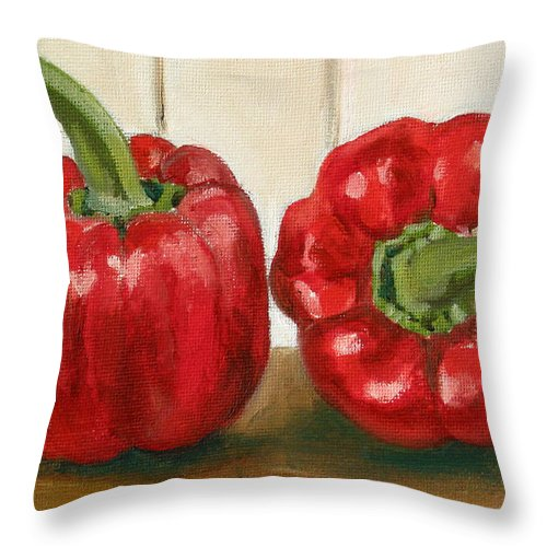 Food Throw Pillow featuring the painting Red Pepper by Sarah Lynch