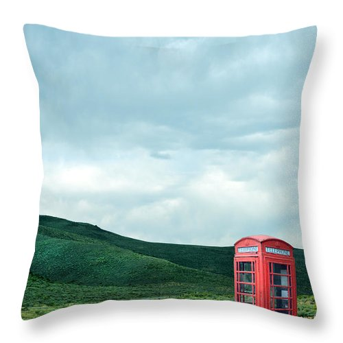 Red Throw Pillow featuring the photograph Red Phone Box On Rural Road by Jill Battaglia