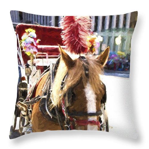Carriage Horse Throw Pillow featuring the photograph Red Plumes by Alice Gipson