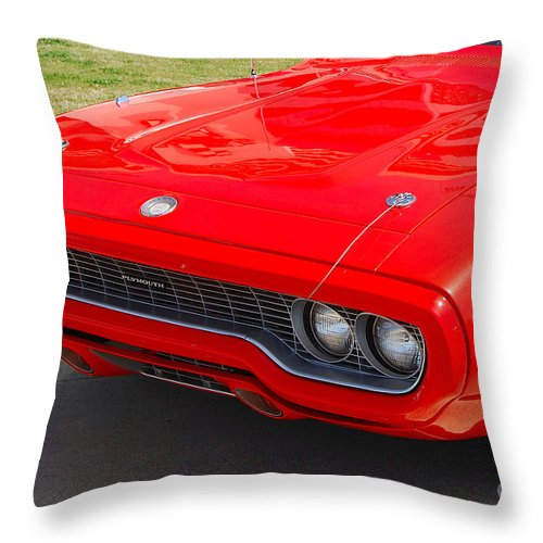 American Muscle Car Throw Pillow featuring the photograph Red Plymouth Gtx by Mark Spearman