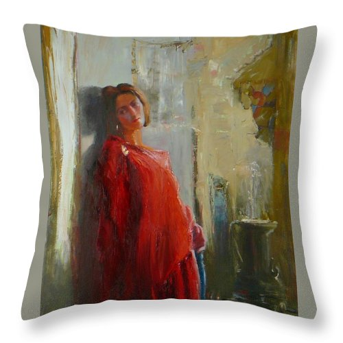 Red Poncho Throw Pillow featuring the painting Red Poncho by Irena Jablonski