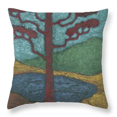 Japan Throw Pillow featuring the painting Red Ponderosa by Carrie MaKenna