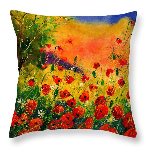 Poppies Throw Pillow featuring the painting Red Poppies 45 by Pol Ledent