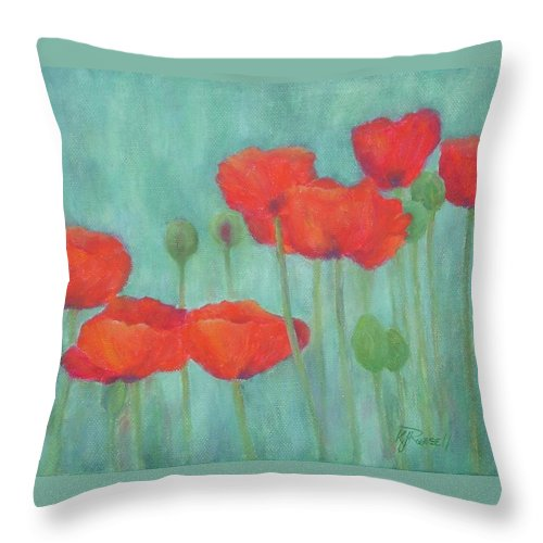 Red Poppies Throw Pillow featuring the painting Red Poppies Colorful Poppy Flowers Original Art Floral Garden by K Joann Russell