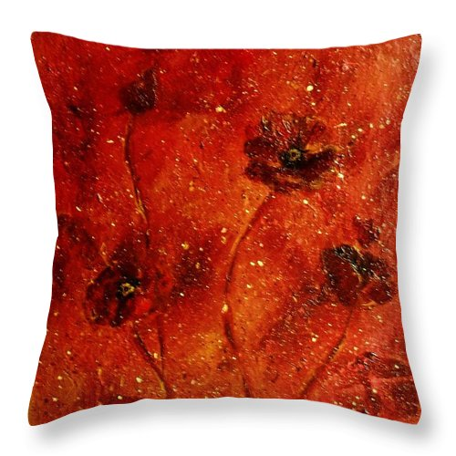 Red Poppies Throw Pillow featuring the painting Red Poppies by Robin Monroe