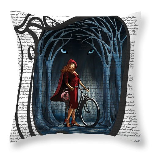 Red Riding Hood Throw Pillow featuring the digital art Red Riding Hood With Text by Sassan Filsoof