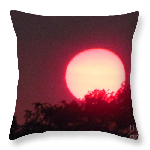 Sun Throw Pillow featuring the photograph Red Ring Sunset Two by Tina M Wenger