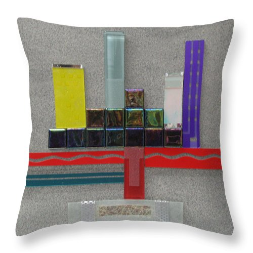 Assemblage Throw Pillow featuring the relief Red River City by Elaine Booth-Kallweit