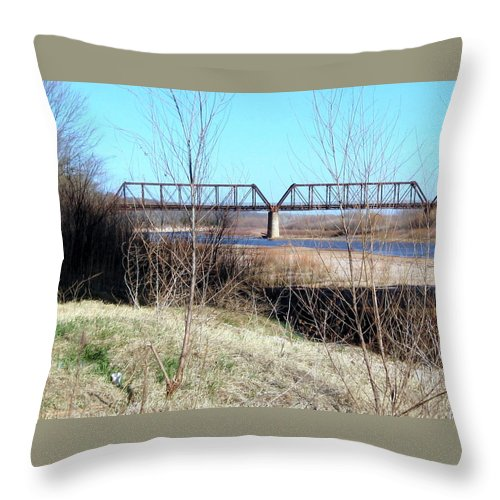 Red River I 35 Train Trussell Throw Pillow featuring the photograph Red River I 35 Train Trussell by Amy Hosp