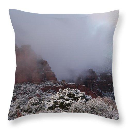 Scenics Throw Pillow featuring the photograph Red Rock Fog Snow Sedona Arizona by Sassy1902