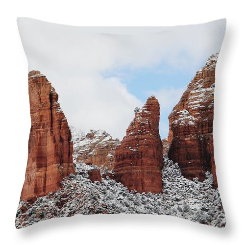 Scenics Throw Pillow featuring the photograph Red Rock Snow Sedona by Sassy1902