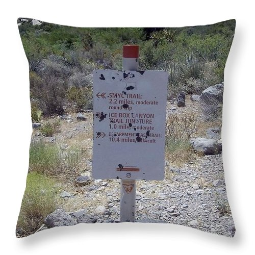 Red Rock Canyon Throw Pillow featuring the photograph Red Rock Trails by Philomena Zito