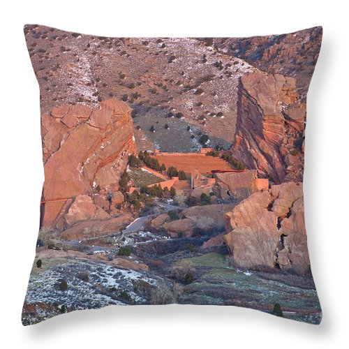 Red Throw Pillow featuring the photograph Red Rocks Amphitheater On Fire by Benjamin Reed