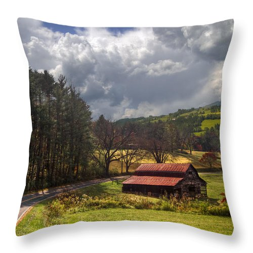 Appalachia Throw Pillow featuring the photograph Red Roof Barn by Debra and Dave Vanderlaan