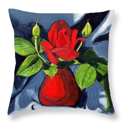 Rose Throw Pillow featuring the painting Red Rose by Vera Lysenko
